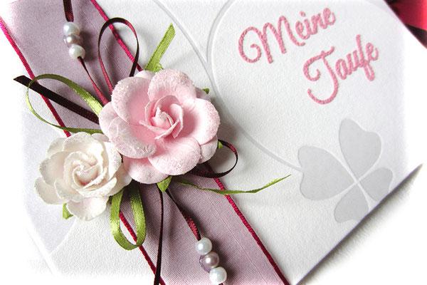Gästebuch Taufe A5 Querformat Taufbuch individuell gestaltet Dekoration Papierrosen Bänder Perlen