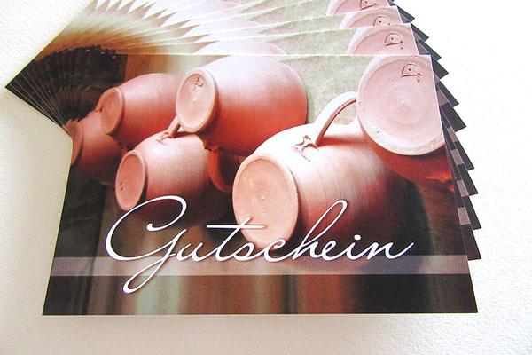 Geschenkgutschein selbst gestalten Gutschein Karte DIN A6 148 x 105 mm 400g Bilderdruck matt beidseitig bedruckt Fotografien in Szene gesetzt