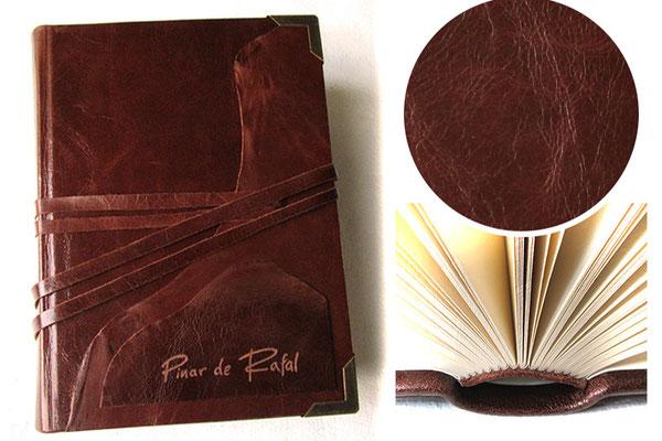 Rustikales Lederbuch Gästebuch Finca - Handgefertige Lederbücher, Lederbuch selbst gestalten - Format, Material, Farben, Accessoires, Gravur, Branding, ...