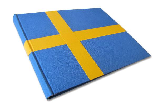 Fotoalbum Schweden Buchbindeleinen blau gelb Erinnerungsalbum Urlaub Landesfarben Flagge Sverige Stockholm Länderalbum 35cm x 25cm x 5cm 100 Seiten mit Pergaminzwischenblättern