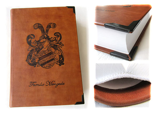 A4 Buch Hardcover Ledereinband cognacfarben Lederbranding Familienwappen 400 Seiten Fadenheftung Metallbuchecken Sonderanfertigung Lederbuch