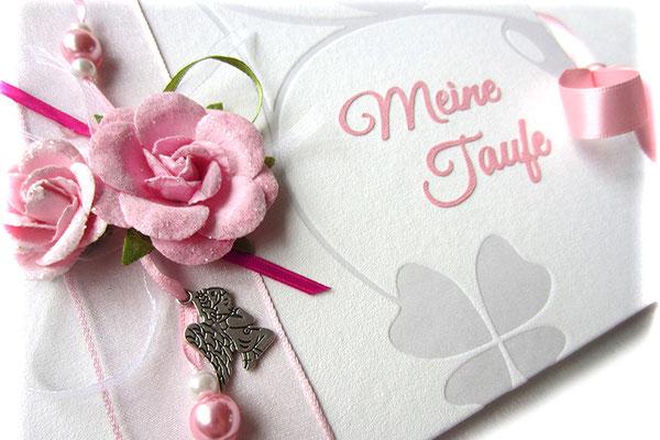 Gästebuch Taufe A5 Querformat Taufbuch individuell gestaltet Dekoration Papierrosen Bänder Perlen Anhänger Engel