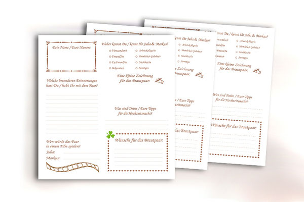 Individuelle Gästefragebögen Hochzeit freie Wahl der Fragen Farben Symbole Formate Bogenanzahl Unikat Gästebuch gesetzt gedruckt gebunden aus einer Hand