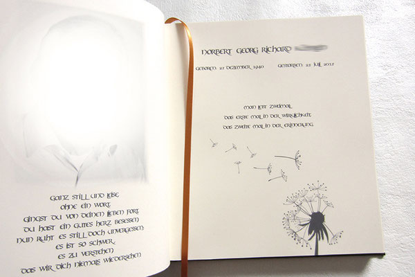 Kondolenzbuch individueller Bucheinband personalisierter Druck im Buch Format 21x24cm Satz Druck Buchbinderei eine Ansprechpartnerin