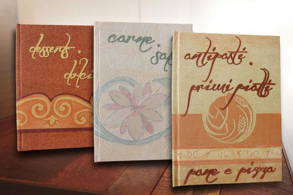 Rezeptbücher mit italienischem Flair Hardcover A5 oberflächenbeschichtete Strukturpapiere vielfältig verarbeitet