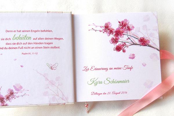 Taufgästebuch individuell bedrucktes Vorsatzpapier Name Taufspruch Blumen Schmetterlinge rosa pink grau grün