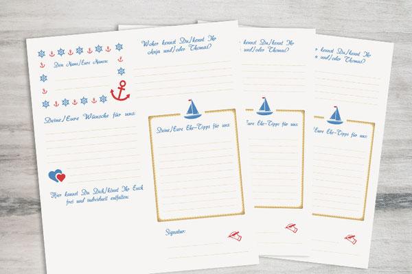 Individueller Gästefragebogen zur Hochzeit, maritimes Design, freie Wahl der Fragen Farben Symbole Bogenanzahl und des Formates