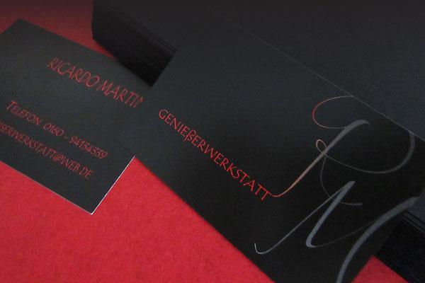 Visitenkarte Gastronomie, Business Card Kochschule - individuelle Grafiken, Kontaktdaten, Farben nach Materialien nach Wunsch