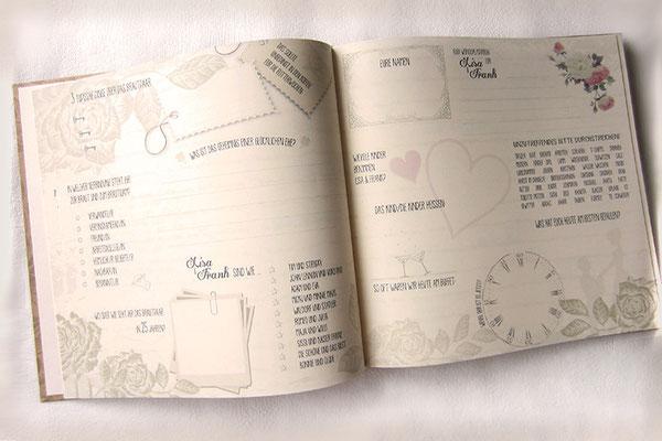 Hochzeitsgästebuch im Vintage-Stil Gästebuch mit Gästefragen Buchblock Fadenheftung 170 g/m² Papier elfenbeinfarben Druck frei wählbarer Fragen und Namen
