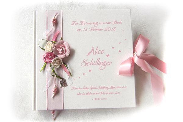 Gästebuch Taufe rosa weiß grün filigrane Buchdekoration Papierrosen Perlen Bänder Engel Leseband Schleifenverschluss Hardcover quadratisches Format 21x21cm 80 Seiten fadengeheftet 160g Papier weiß