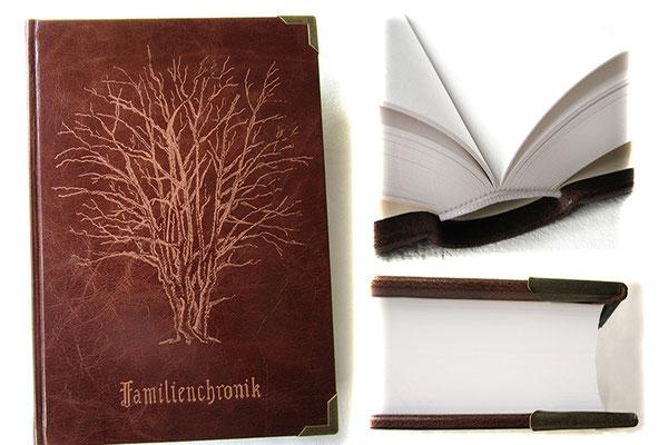 A4 Buch Hardcover Ledereinband dunkelcognacfarben, Handgravur Baum nach Kunden-Foto, 400 Seiten Fadenheftung, Metallbuchecken antikmessingfarben, Sonderanfertigung Familienchronik