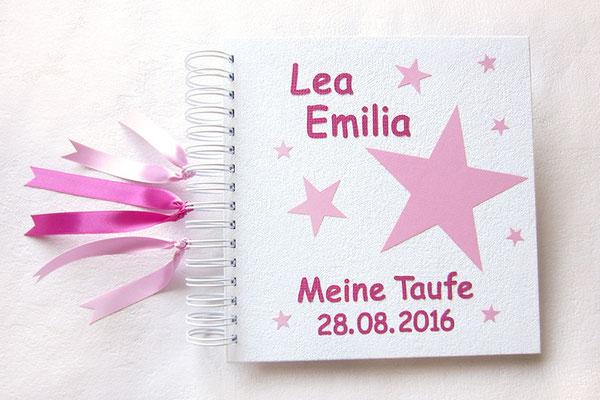 Taufalbum in Lieblingsfarben weiß rosa pink Fotoalbum Taufe Name Sterne Bänder als Sternenschweif Hardcover 21x21cm Drahtkammbindung weiß