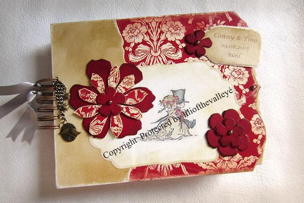 Hochzeitsalbum Hochzeitsgästebuch im Vintage Stil Drahtkammbindung A4 Hardcover creme dunkelrot Scrapbooking-Fotoalbum zur Hochzeit