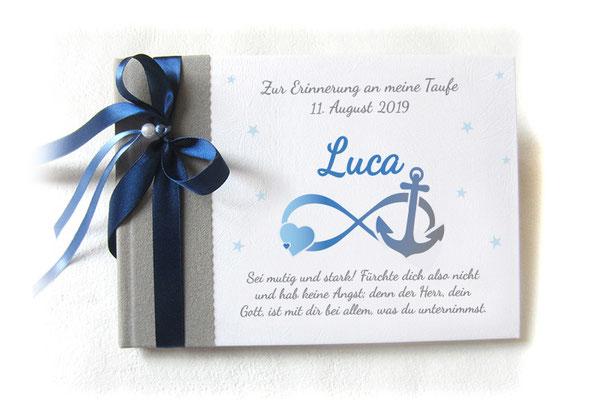 Gästebuch zur Taufe mit Motiven der Taufkerze Unendlichkeitszeichen Anker Herz Sterne hellgrau blau weiß - Individualisierbar in Farbe Symbolik Text Name