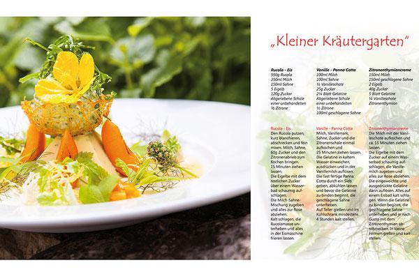 Layoutbeispiel Buchseite Kochbuch Bild- und Textanordnung