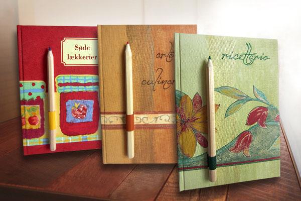 Rezeptbücher mit Stift Hardcover A5 oberflächenbeschichtete Strukturpapiere thematisiert und harmonisch kombiniert