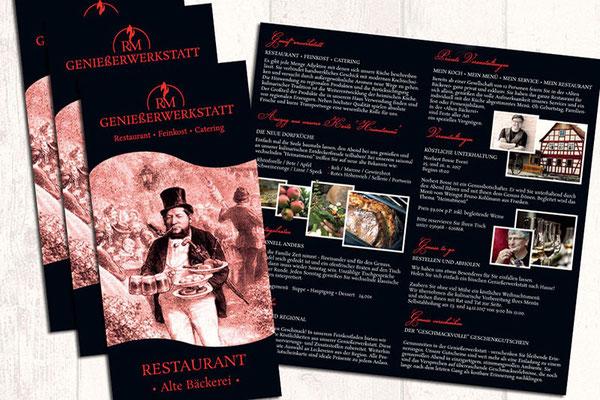 Folder Gastronomie Restaurant individuelle Bild- und Textinhalte für alle Formate Falzarten Auflagen