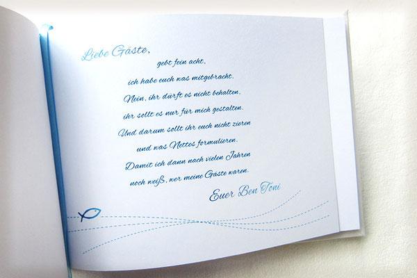 Gästebuch Taufe Druck Einleitung Seite 1 im Buch selbst gestalten Name Text Schriftart Farben Symbole Anordnung
