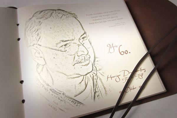 Druck Einleitung Gästebuch 60. Geburtstag eigener Text eigenes Bild mit Bildbearbeitung und Druckvorschau