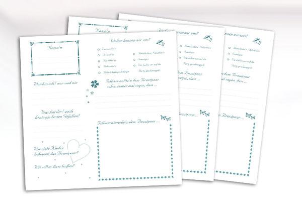 Gästefragebogen gestalten individuelle Gästefragebögen Hochzeit freie Wahl der Fragen Farben Symbole Formate Bogenanzahl Unikat Gästebuch gesetzt gedruckt gebunden aus einer Hand
