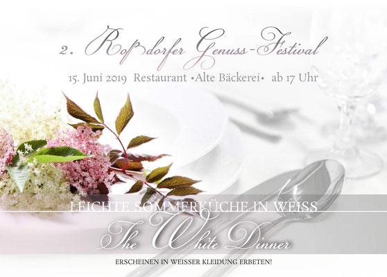 Flyer Einladungskarte The White Dinner Postkartenformat 148mm x 105 mm 2 Seiten 4/4-farbig 170 g/m² Bilderdruckpapier glanz