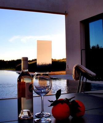 Sonnenuntergang Glas im Garten Stele