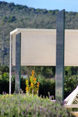 Glas im Garten Lavendefelder