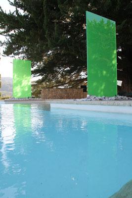 Raumteiler aus Glas für den Garten