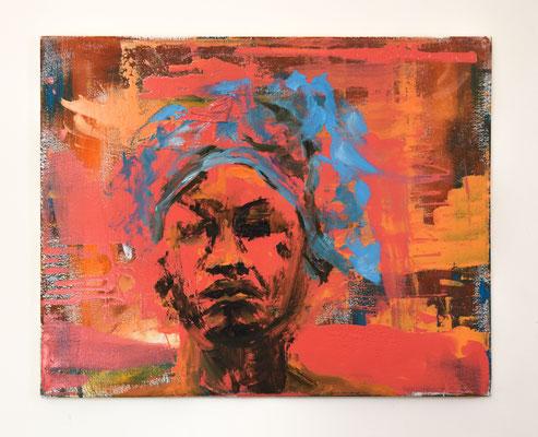 'Angelica' 40x50 Lak, Acryl en Olieverf op canvas