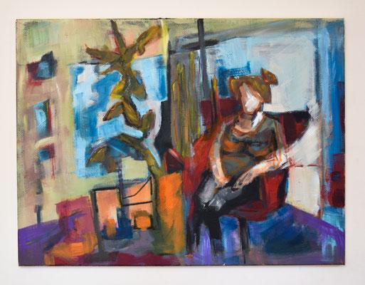 60x80 Acryl en Oliepastel op canvas