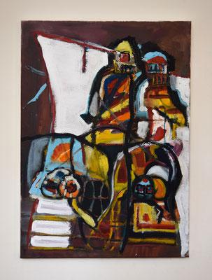 70x50 Acryl, Oilbar, Latex en Olieverf op canvas