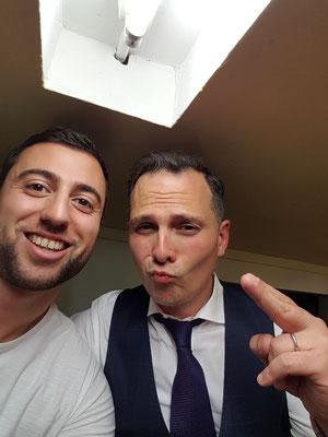 Mit Javier Garcia nach gemeinsamem Auftritt an der SRF-3 Talentstage, ComedyHaus Zürich.