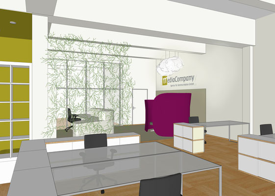 "Firma Media Company, Berlin - ""open office"" und Eingangsbereich"