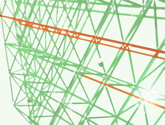 Deutsche Bahn Wettbewerb, Farb- und Orientierungssystem - 2 OG Thema: Konstruktion, Tragwerk, Stahl, 2 OG Akzentfarbe: kupfergrün