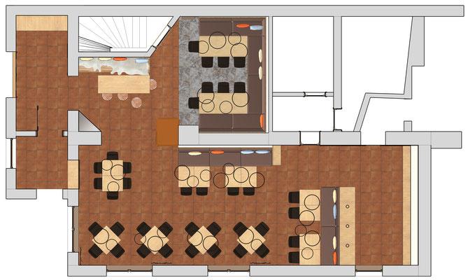 Einrichtung Gaststätte - Grundriss