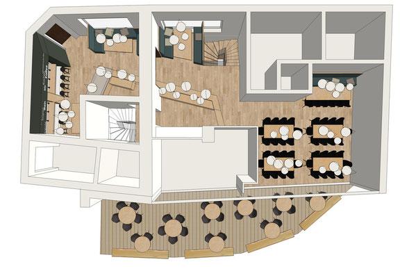 Restaurant Drogerie - Erdgeschoss, Variante 1