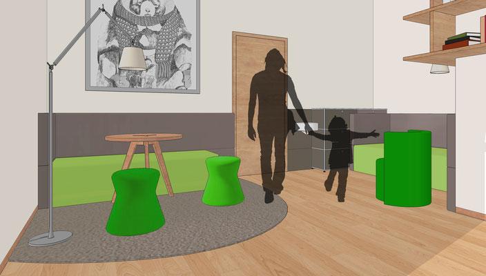 Praxis für Kinder- und Jugendpsychiatrie, Cottbus - Büro 1, alternatives Farbkonzept