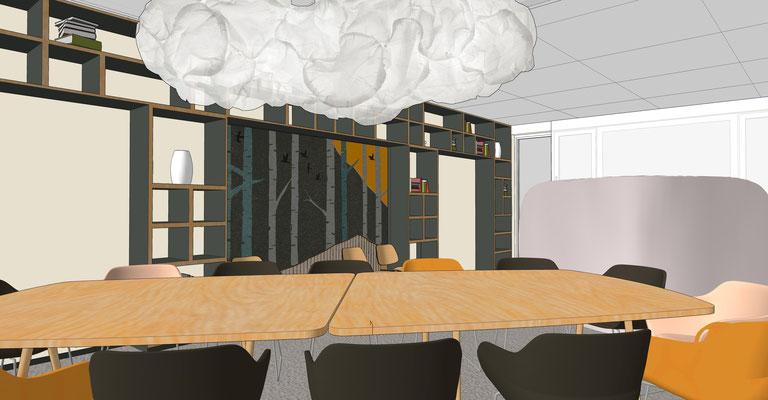 """""""Neues Berlin"""" Konferenzraum - Bibliothek mit Grafik (Eigenentwurf), Variante 3"""