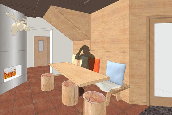 Einrichtung Gaststätte - Sitzbank rustikal