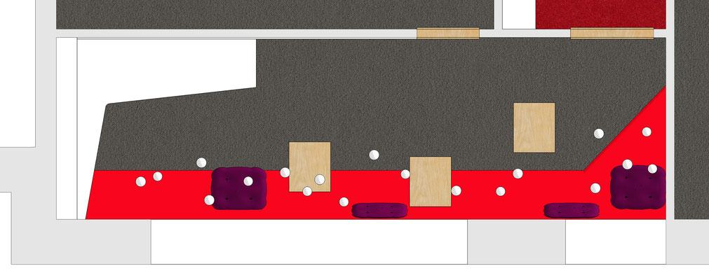 Deutsche Bahn Wettbewerb - Meeting Point EG (Akzentfarbe rot), Grundriss
