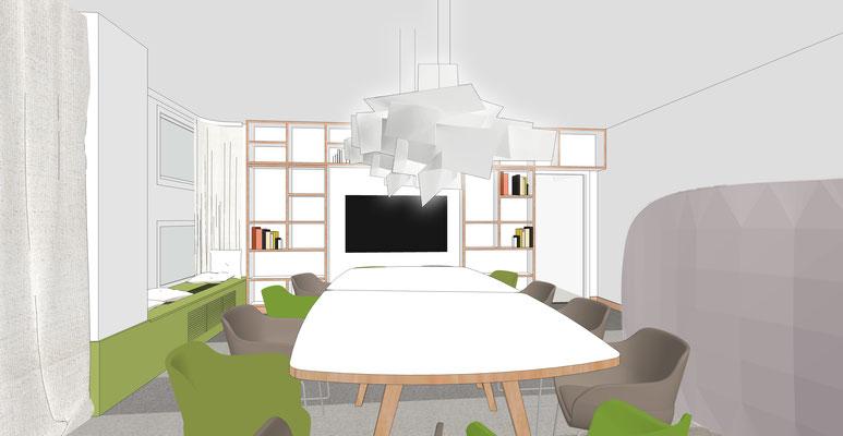 Perspektive Konferenzraum - Variante 1, Bibliothekregal