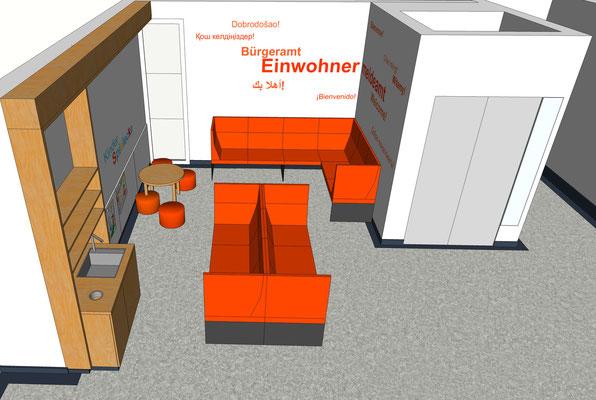 Wartebereich der Meldestelle, Variante 2, 1. Etage