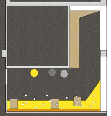 Deutsche Bahn Wettbewerb - Meeting Point OG 1 (Akzentfarbe ockergelb), Grundriss