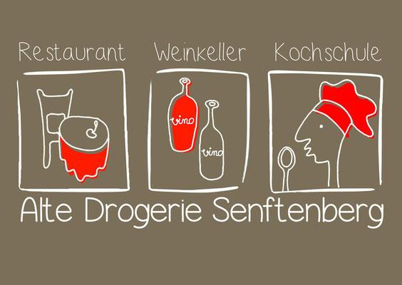 "Restaurant ""Drogerie"" - Visitenkarte, Seite 1"