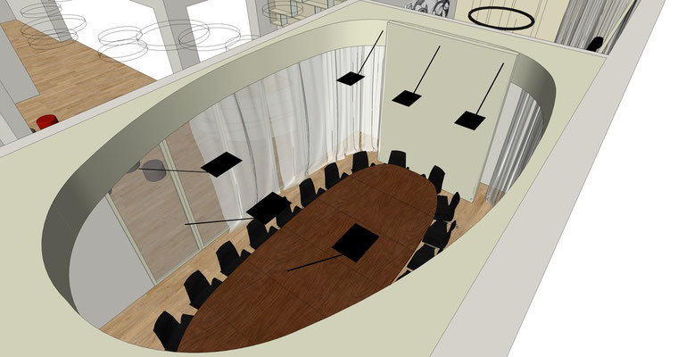 """Hauptverwaltung """"Elsterpark"""" - Konferenzbereich mit einem ovalen Vorhang"""