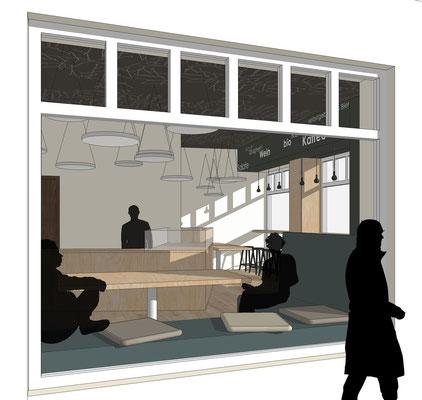 Restaunrant Drogerie - Erdgeschoss, Sitzbank am Fenster