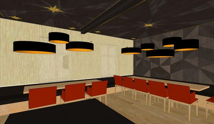 Restaurant Drogerie- Obergeschoss Wand- und Deckengestaltung, Variante 2
