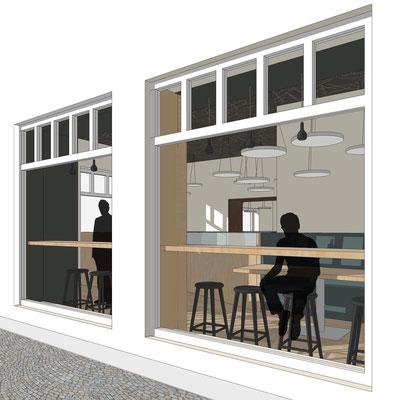 Restaunrant Drogerie - Erdgeschoss, Sitz am Fenster