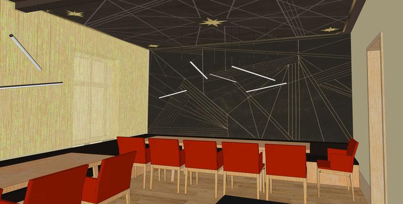 Restaurant Drogerie- Obergeschoss Wand- und Deckengestaltung, Variante 1