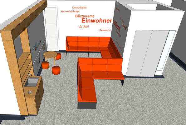 Wartebereich der Meldestelle, Variante 1, 1. Etage